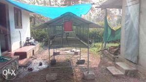 Green Metal Chicken Coop
