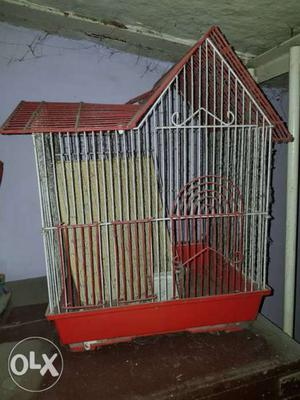 Red And White Steel Birdcage