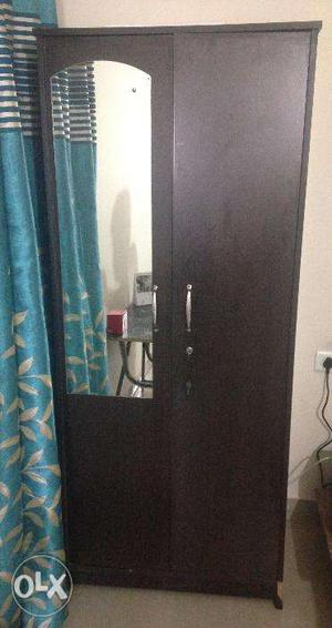 2 door wardrobe with Mirror, lock, 2 - drawers with lock
