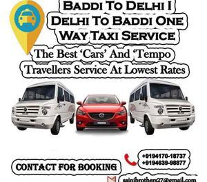 Baddi To Delhi Delhi To Baddi One Way Taxi Service Call-94
