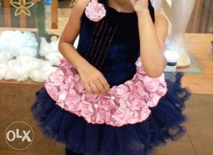 Children's Blue And Pink Floral Sleeveless Dress
