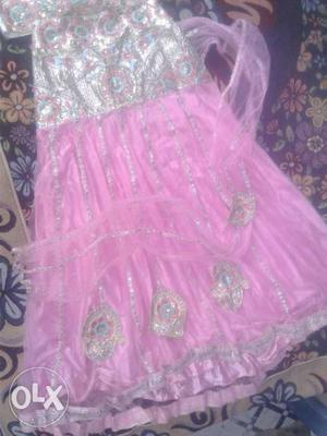 Unused lehenga for girls in baby pink colour