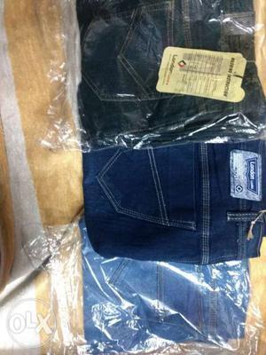 Blue Denim Jeans And White Denim Bottoms