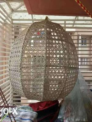 Oval-shaped White Mesh Bird Cage