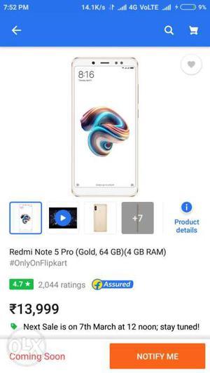 Redmi note 5 pro (Gold color)