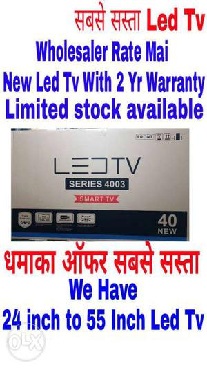 New Smart 32 inch Led TV With 2 Year Warranty And Seal Pack.
