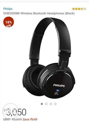 Black Philips SHBBK Wireless Bluetooth Headphones