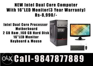 """New Offer! Intel Dual Core Computer With 16""""LED"""