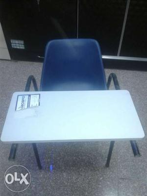 Rectangular White Wooden Table With Chair