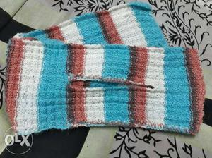 Blue, Red, And White Knitted Textile