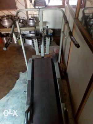Gray And Black Treadmill Machine