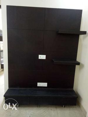 Wooden TV unit,dark brown in matte finish, unused