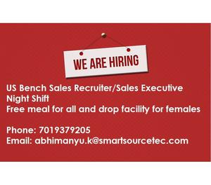 Hiring for US Bench Sales RecruiterSales Executive Goa