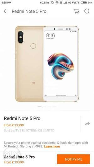 Redmi Note 5 Pro GOLD 4gb sealed box new