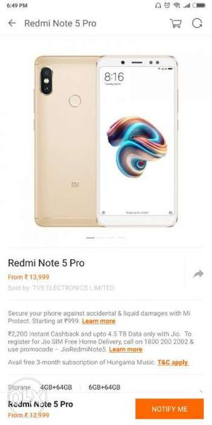 Redmi note 5 pro Gold 4 GB 64 GB 1 day old Seal