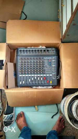 Black And Gray Audio Mixer With Box