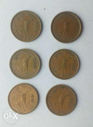One pice copper coin.six coin set