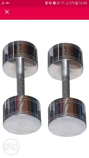 Pair Of Stainless Steel Fixed-weight Dumbbells