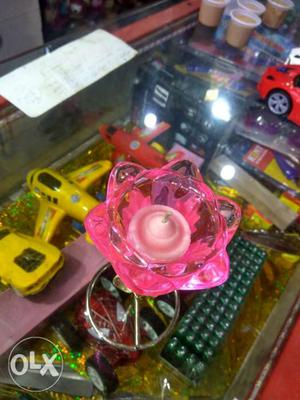 Pink rose flower candle stand