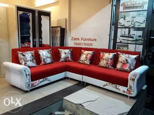 Red And White Sectional Couch corner sofa