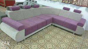 Purple And Cream Sectional Couch