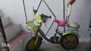 Toddler's Red And Green Bicycle With Training Wheels
