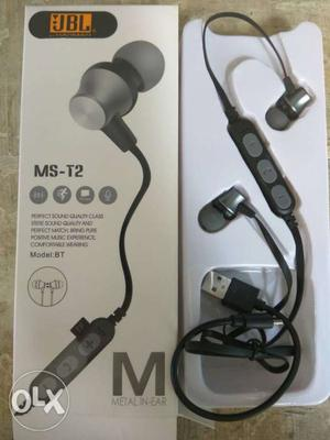 Black And Gray JBL MS-T2 In-ear BLUETOOTH Earphones With Box