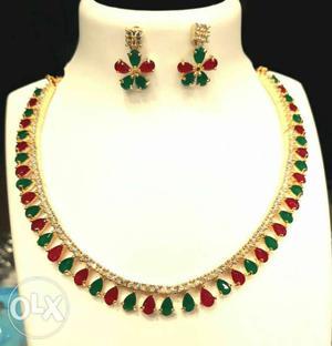 Single strand American Diamond necklace set with