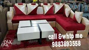 White And Red Sectional Couch With White Coffee Table