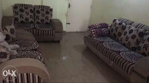 7 seater Brown Sofa Set with table