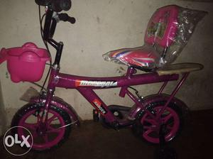 Toddler's Pink And Purple Bicycle With Training Wheels