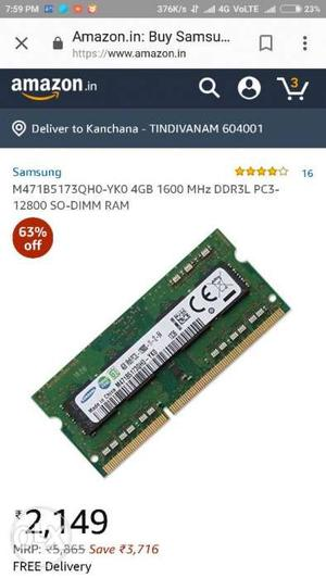 Ddr3 2gb samsung laptop ram