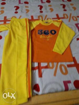 Yellow And Orange 360 Printed Long-sleeved Shirt And Yellow