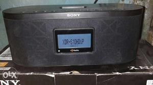 Black And Gray Sony Speaker with Digital Fm and Alarm Clock