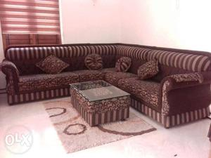 Sofa set with teapoy and matching