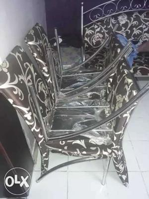 Steel sofa set with 4 chairs Black n white floral