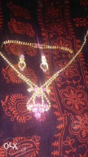 Dubai set pink artificial diamond
