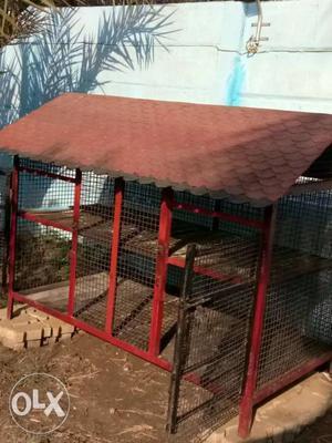 Red Steel Chicken Coop