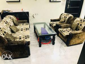 5 seater sofa set with cover and Table