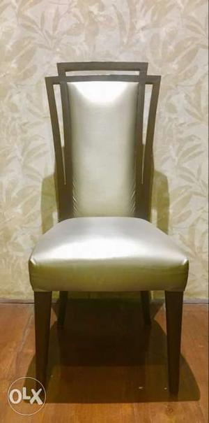 8 burma teak wood chairs with leatherite seats