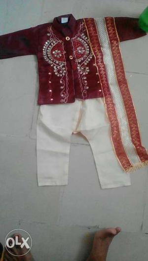Red And White Floral Dress Shirt And White Pants