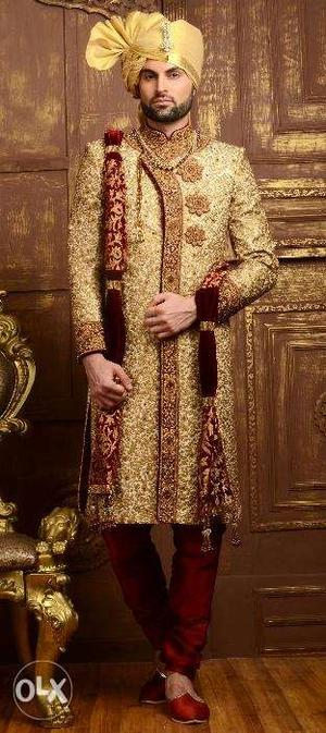 Sherwani rent/sale low price with pagri & shoes