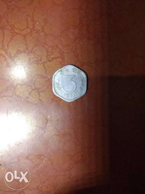 Very old coin of 3 paisa