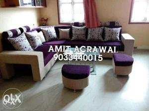Purple And White Sectional Couch With Text Overlay