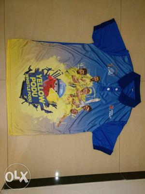 Blue And Yellow Yellow Podu Polo Shirt