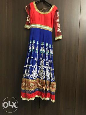 This red n blue anarkali.. is beautiful to wear