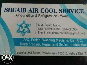 Shuaib Air Cool Service Calling Card