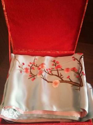 Pink And light blue Floral silk scarf with beautiful box