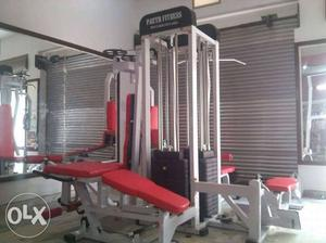White And Red Combo Exercise Equipment