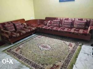 Floral print 6 seater sofa set